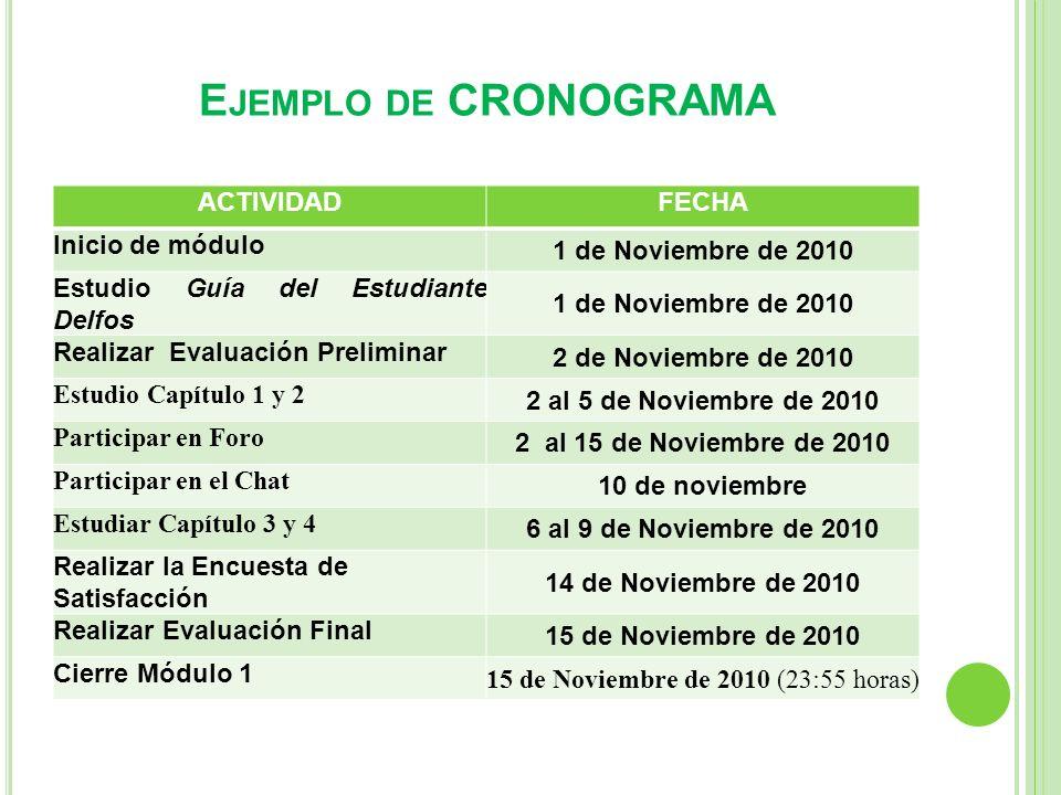 E JEMPLO DE CRONOGRAMA ACTIVIDADFECHA Inicio de módulo 1 de Noviembre de 2010 Estudio Guía del Estudiante Delfos 1 de Noviembre de 2010 Realizar Evalu