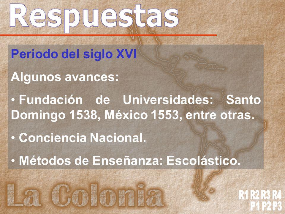 Periodo del siglo XVI Algunos avances: Fundación de Universidades: Santo Domingo 1538, México 1553, entre otras.