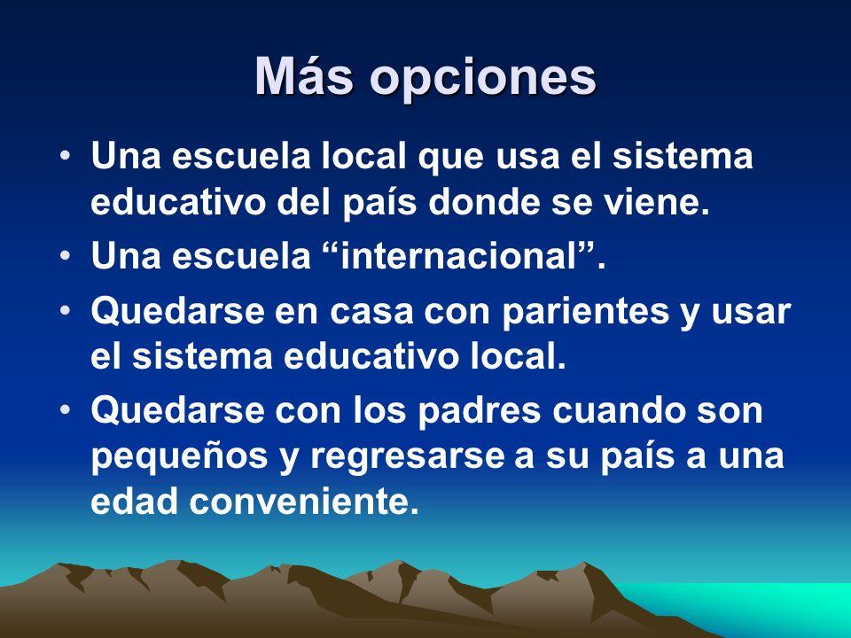 Más opciones Una escuela local que usa el sistema educativo del país donde se viene. Una escuela internacional. Quedarse en casa con parientes y usar