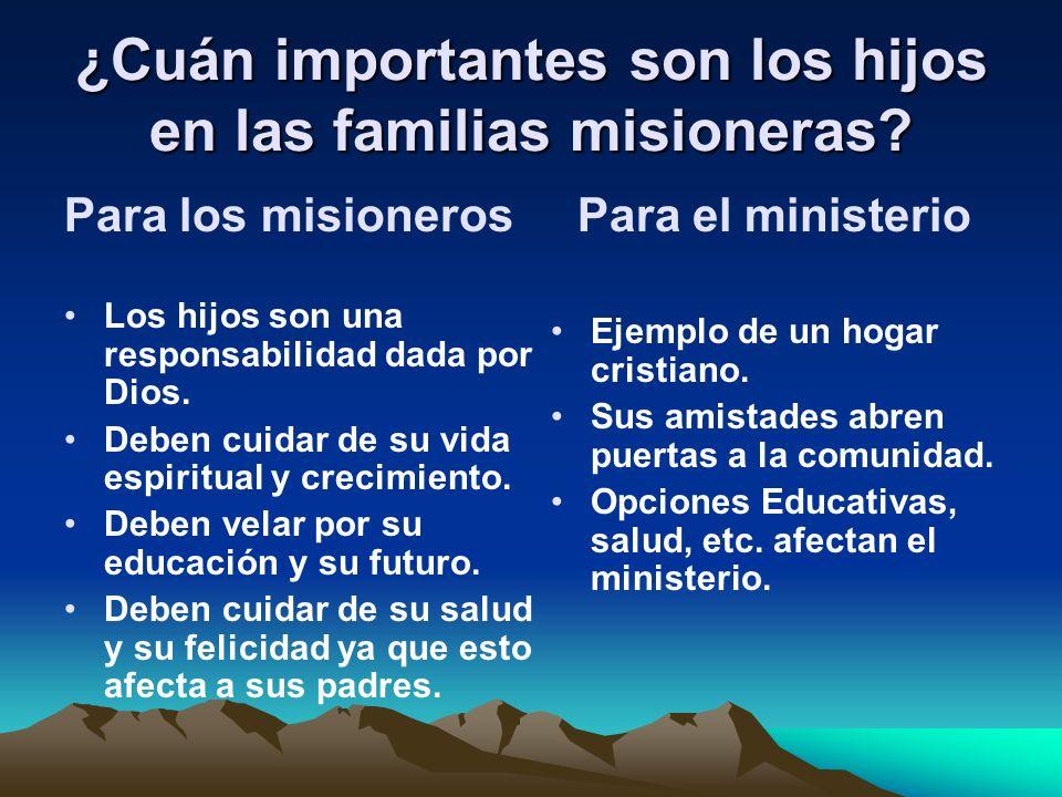 ¿Cuán importantes son los hijos en las familias misioneras? Para los misioneros Los hijos son una responsabilidad dada por Dios. Deben cuidar de su vi