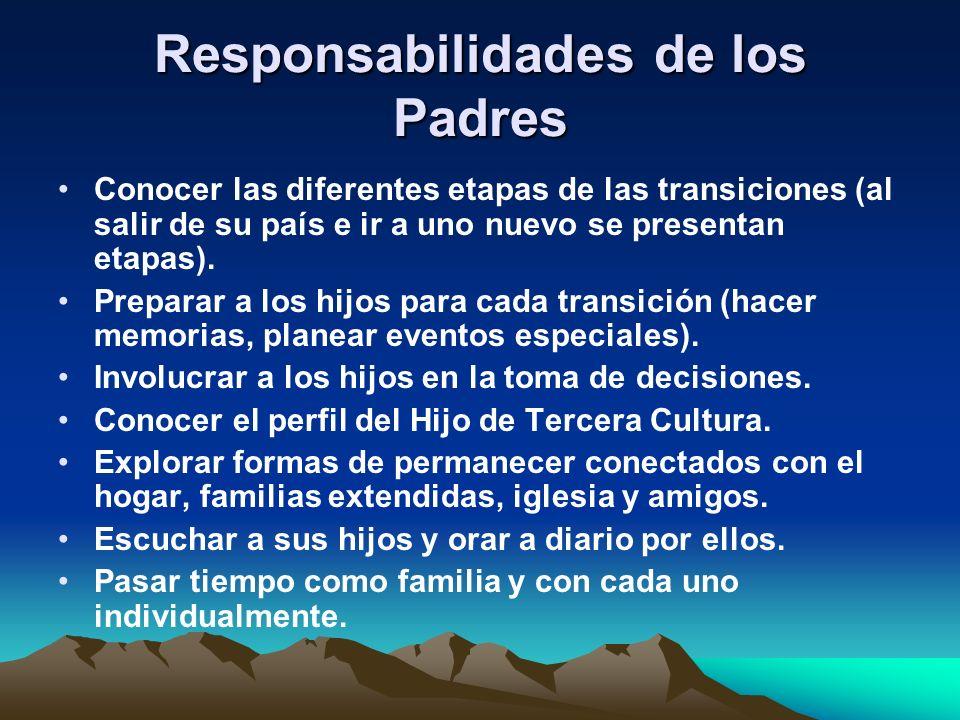 Responsabilidades de los Padres Conocer las diferentes etapas de las transiciones (al salir de su país e ir a uno nuevo se presentan etapas). Preparar