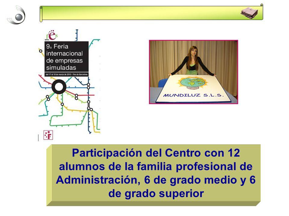 Participación del Centro con 12 alumnos de la familia profesional de Administración, 6 de grado medio y 6 de grado superior