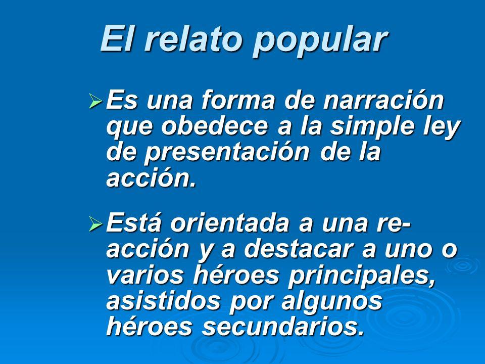 El relato popular Es una forma de narración que obedece a la simple ley de presentación de la acción. Es una forma de narración que obedece a la simpl
