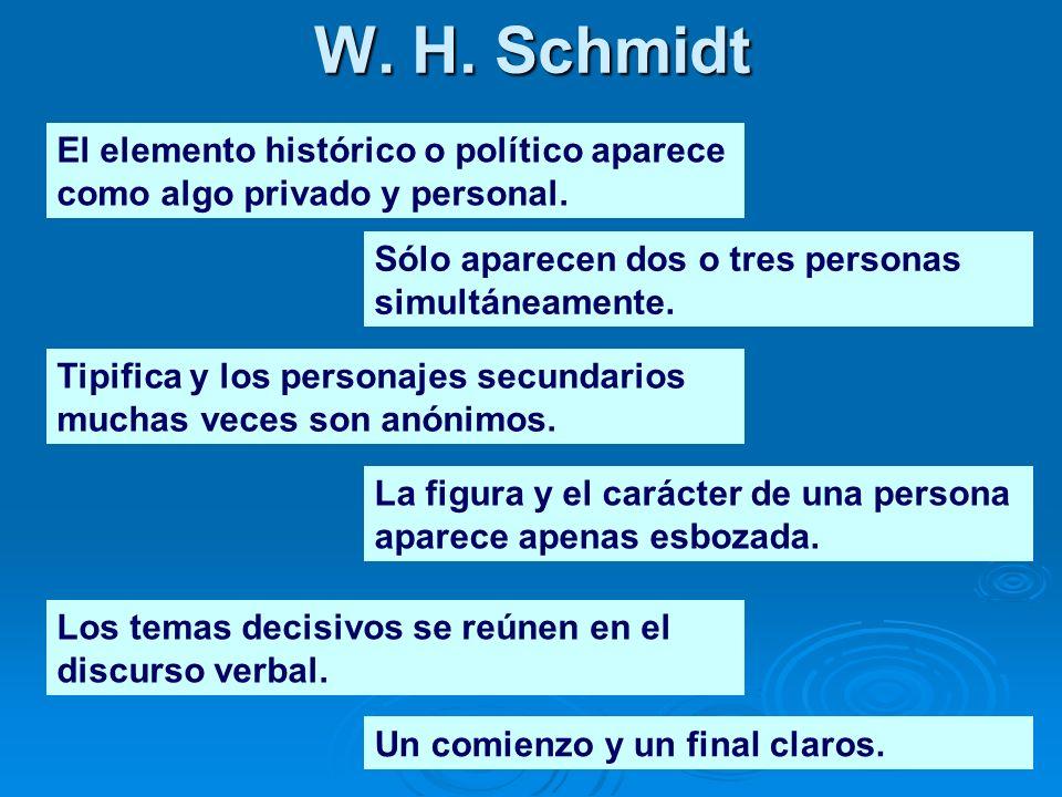 W. H. Schmidt El elemento histórico o político aparece como algo privado y personal. Los temas decisivos se reúnen en el discurso verbal. Sólo aparece