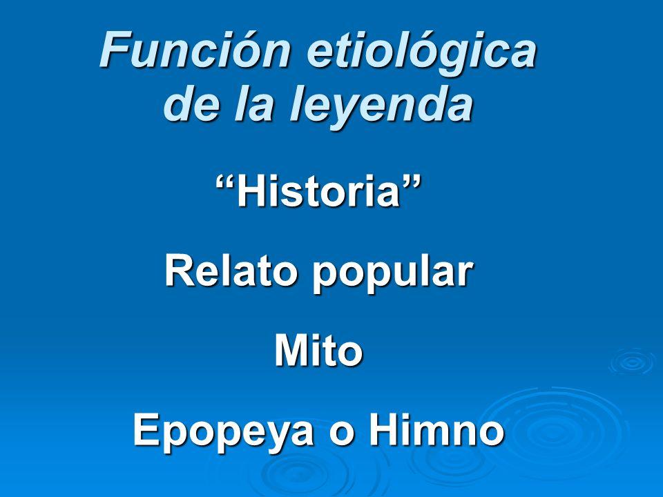 Función etiológica de la leyenda Historia Relato popular Mito Epopeya o Himno