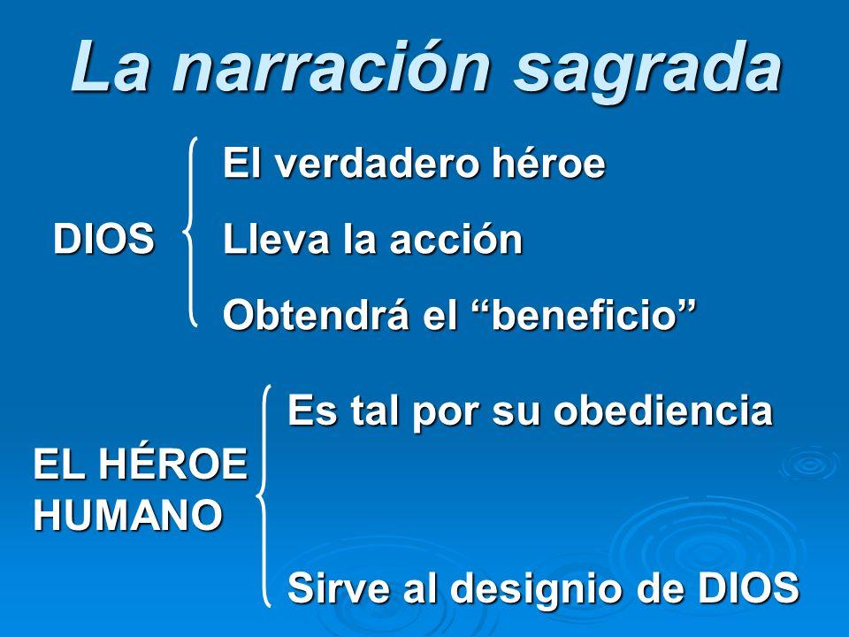La narración sagrada El verdadero héroe DIOSLleva la acción Obtendrá el beneficio Es tal por su obediencia EL HÉROE HUMANO Sirve al designio de DIOS