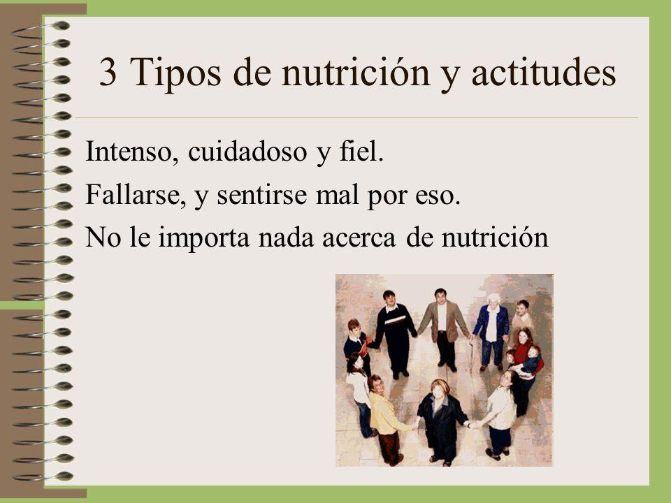 3 Tipos de nutrición y actitudes Intenso, cuidadoso y fiel. Fallarse, y sentirse mal por eso. No le importa nada acerca de nutrición