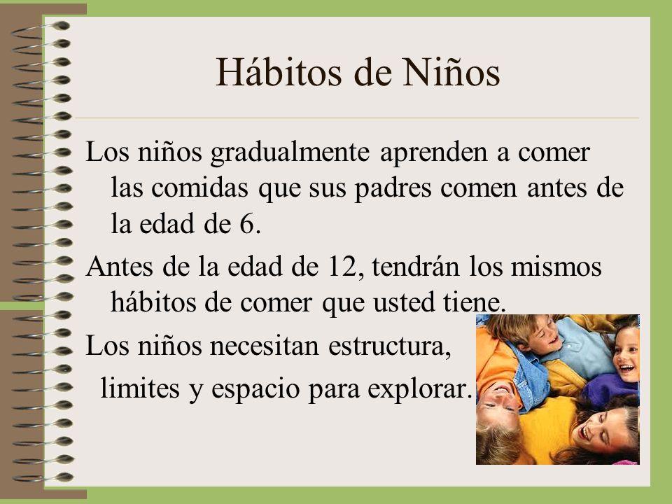 Hábitos de Niños Los niños gradualmente aprenden a comer las comidas que sus padres comen antes de la edad de 6. Antes de la edad de 12, tendrán los m