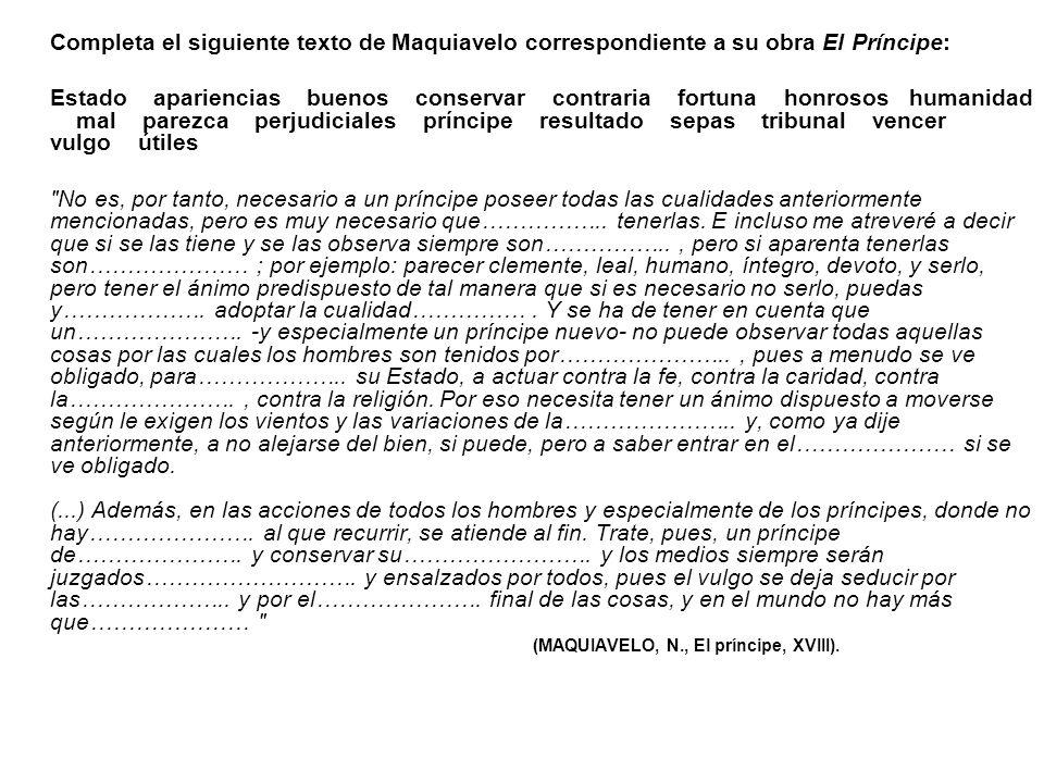 Completa el siguiente texto de Maquiavelo correspondiente a su obra El Príncipe: Estado apariencias buenos conservar contraria fortuna honrosos humani