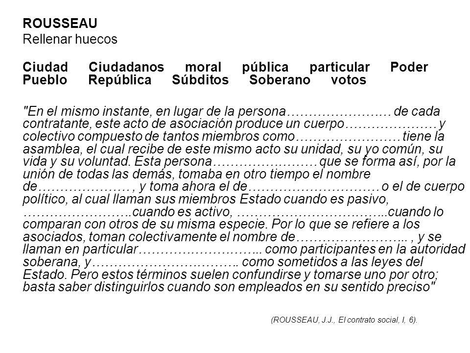 ROUSSEAU Rellenar huecos Ciudad Ciudadanos moral pública particular Poder Pueblo República Súbditos Soberano votos