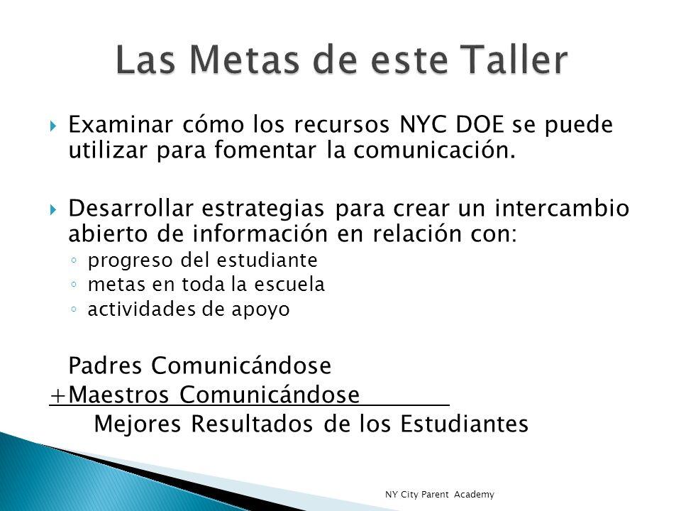 Examinar cómo los recursos NYC DOE se puede utilizar para fomentar la comunicación. Desarrollar estrategias para crear un intercambio abierto de infor