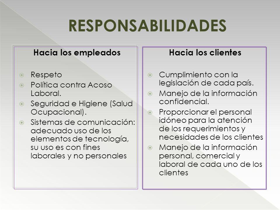 RESPONSABILIDADES Hacia los empleados Respeto Política contra Acoso Laboral. Seguridad e Higiene (Salud Ocupacional). Sistemas de comunicación: adecua