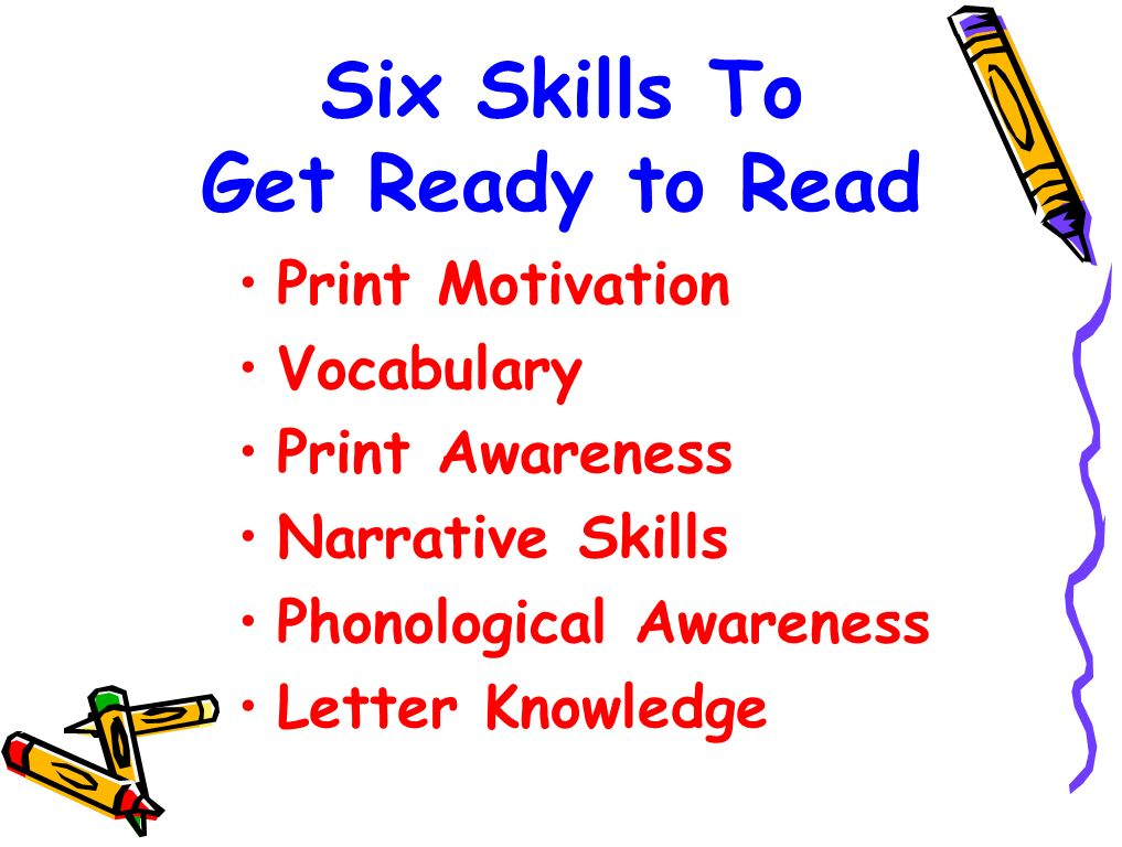 Six Skills To Get Ready to Read Print Motivation Vocabulary Print Awareness Narrative Skills Phonological Awareness Letter Knowledge