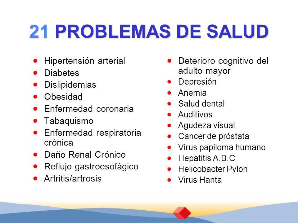 21 PROBLEMAS DE SALUD Hipertensión arterial Diabetes Dislipidemias Obesidad Enfermedad coronaria Tabaquismo Enfermedad respiratoria crónica Daño Renal