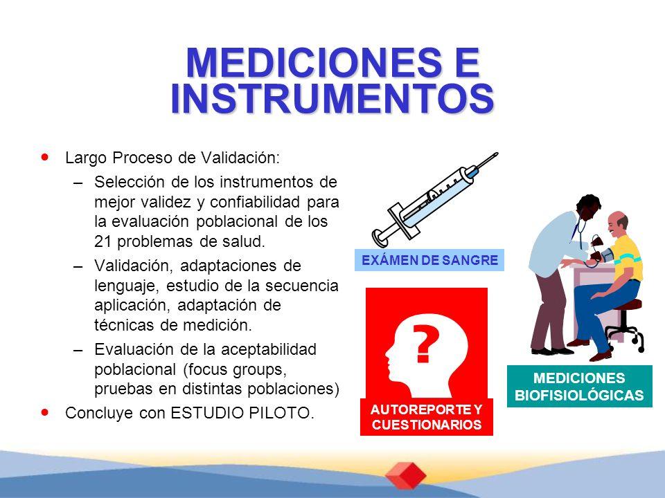 MEDICIONES E INSTRUMENTOS Largo Proceso de Validación: –Selección de los instrumentos de mejor validez y confiabilidad para la evaluación poblacional de los 21 problemas de salud.