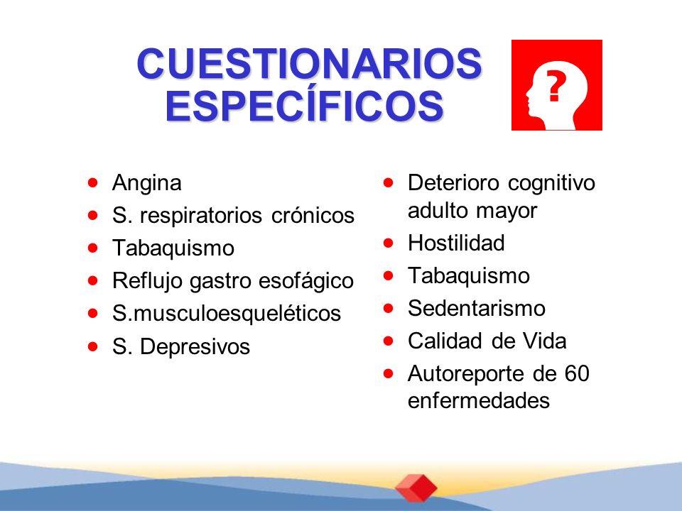 CUESTIONARIOS ESPECÍFICOS Angina S. respiratorios crónicos Tabaquismo Reflujo gastro esofágico S.musculoesqueléticos S. Depresivos Deterioro cognitivo