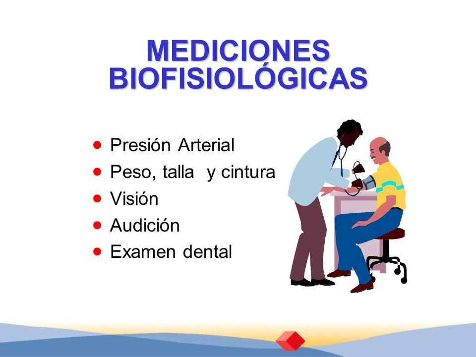 MEDICIONES BIOFISIOLÓGICAS Presión Arterial Peso, talla y cintura Visión Audición Examen dental