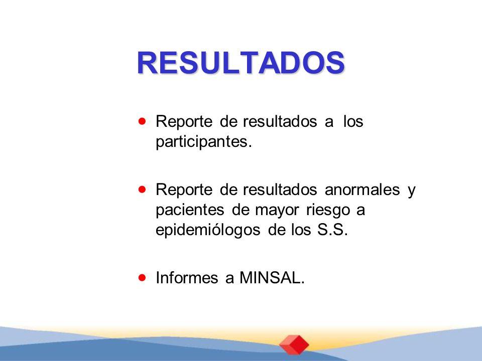 RESULTADOS Reporte de resultados a los participantes. Reporte de resultados anormales y pacientes de mayor riesgo a epidemiólogos de los S.S. Informes