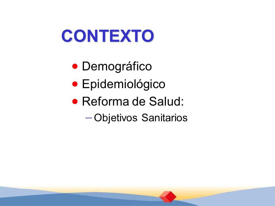 CONTEXTO Demográfico Epidemiológico Reforma de Salud: Objetivos Sanitarios