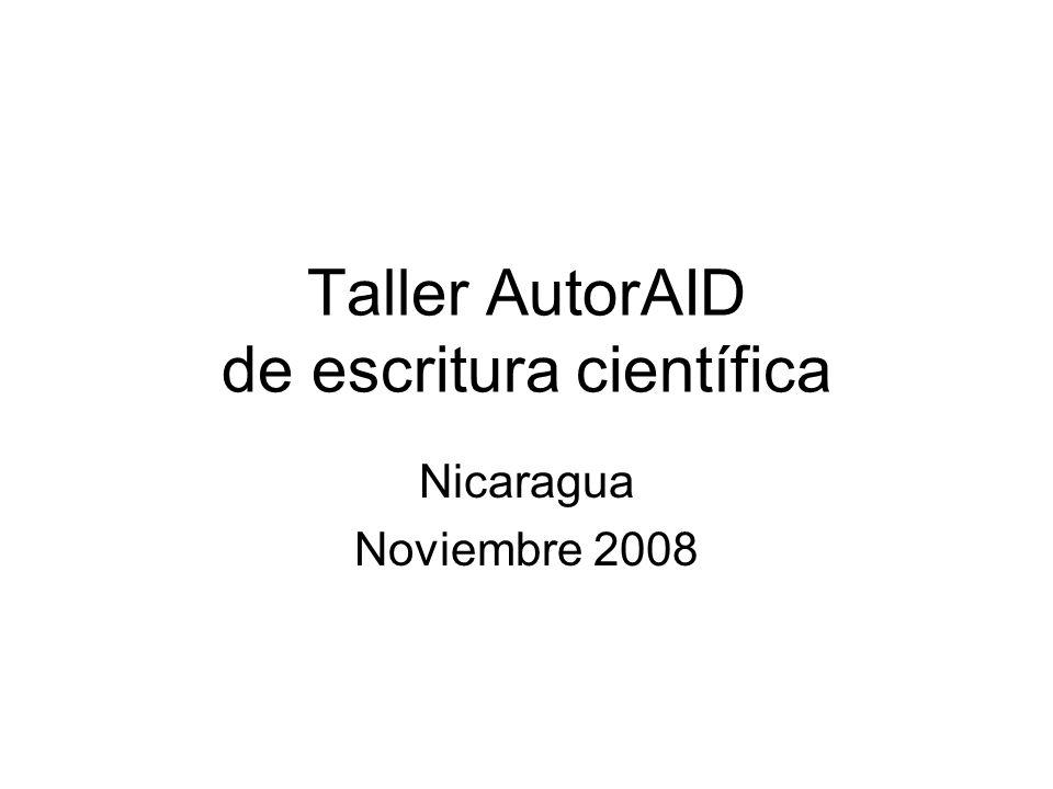 Taller AutorAID de escritura científica Nicaragua Noviembre 2008