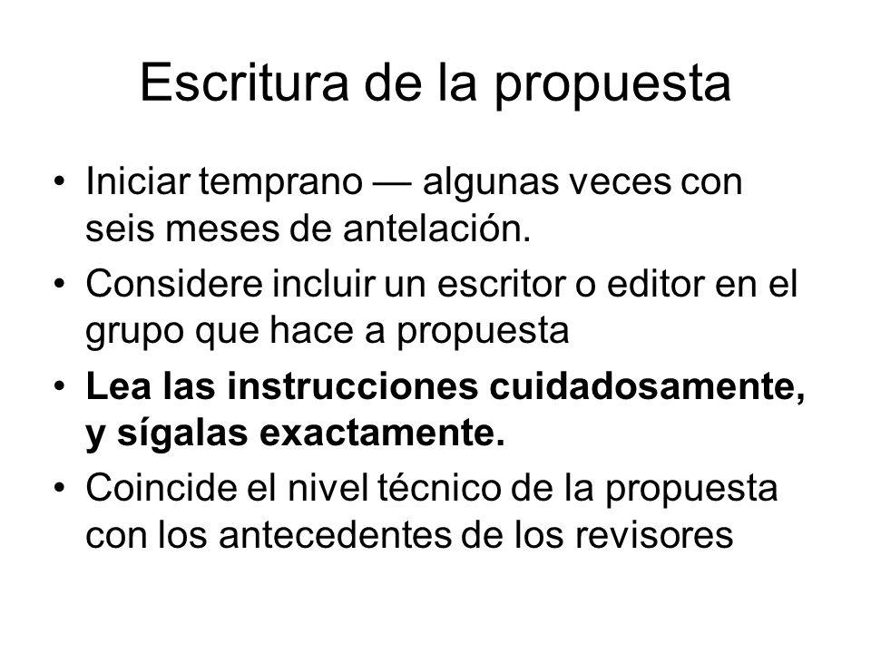 Escritura de la propuesta Iniciar temprano algunas veces con seis meses de antelación.