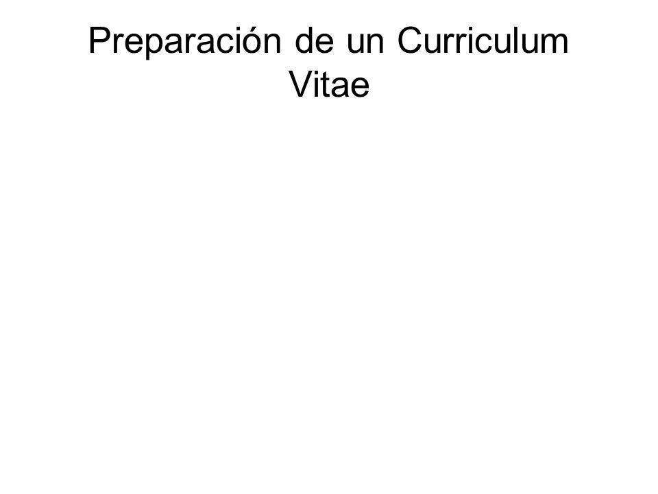 Preparación de un Curriculum Vitae