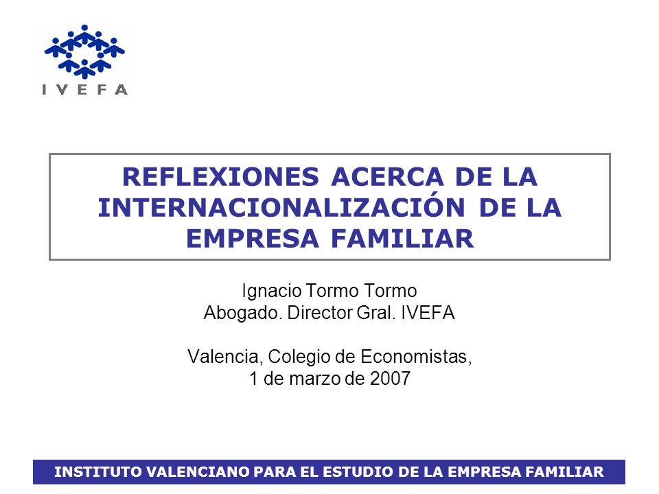 INSTITUTO VALENCIANO PARA EL ESTUDIO DE LA EMPRESA FAMILIAR LA INTERNACIONALIZACION DE LA PYME FAMILIAR Propuestas de Actuación: nivel externo RECOMENDACIONES acerca de los acuerdos de cooperación: Que sea explícito: formalizado, por escrito.