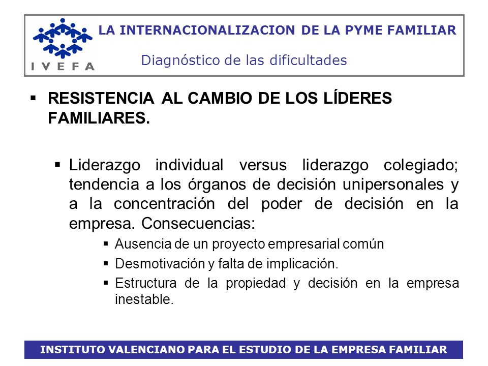 INSTITUTO VALENCIANO PARA EL ESTUDIO DE LA EMPRESA FAMILIAR LA INTERNACIONALIZACION DE LA PYME FAMILIAR Diagnóstico de las dificultades RESISTENCIA AL