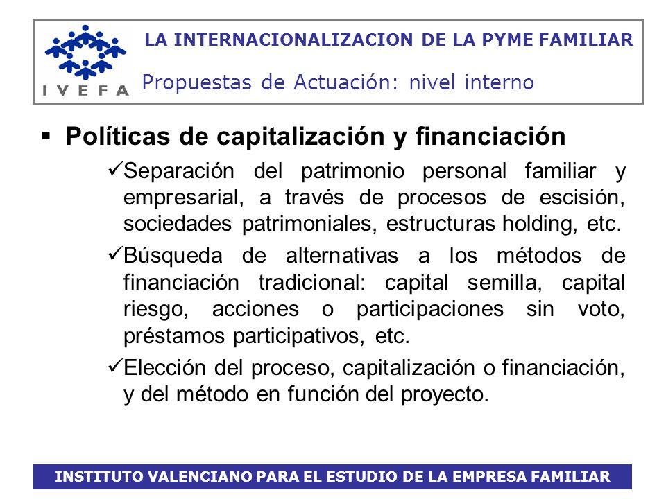 INSTITUTO VALENCIANO PARA EL ESTUDIO DE LA EMPRESA FAMILIAR LA INTERNACIONALIZACION DE LA PYME FAMILIAR Propuestas de Actuación: nivel interno Polític