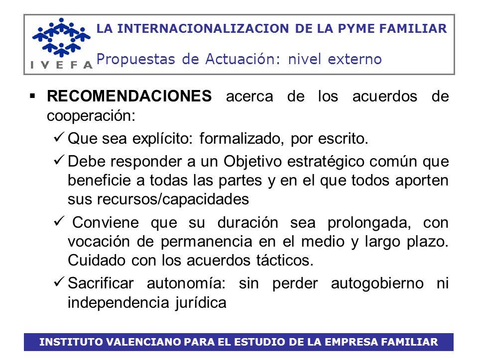INSTITUTO VALENCIANO PARA EL ESTUDIO DE LA EMPRESA FAMILIAR LA INTERNACIONALIZACION DE LA PYME FAMILIAR Propuestas de Actuación: nivel externo RECOMEN