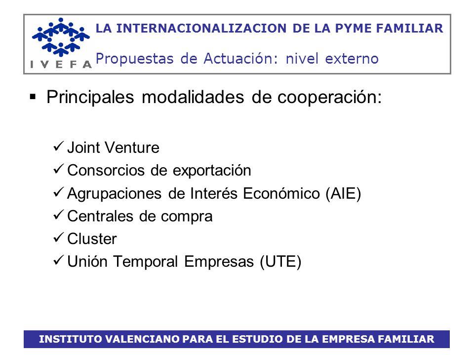 INSTITUTO VALENCIANO PARA EL ESTUDIO DE LA EMPRESA FAMILIAR LA INTERNACIONALIZACION DE LA PYME FAMILIAR Propuestas de Actuación: nivel externo Princip