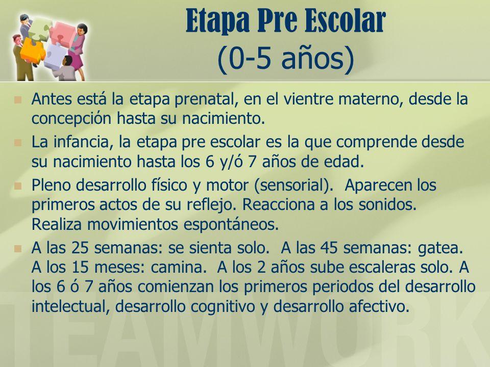 Etapa Pre Escolar (0-5 años) Antes está la etapa prenatal, en el vientre materno, desde la concepcin hasta su nacimiento. La infancia, la etapa pre es