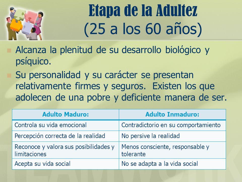 Etapa de la Adultez (25 a los 60 años) Alcanza la plenitud de su desarrollo biolgico y psíquico. Su personalidad y su carácter se presentan relativame