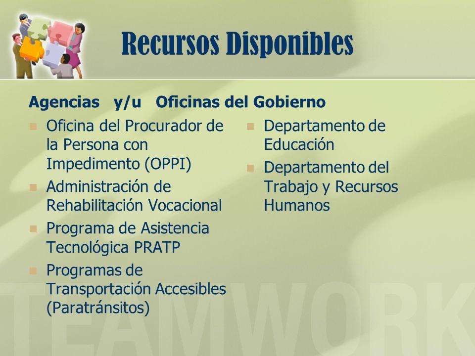 Recursos Disponibles Agencias y/u Oficinas del Gobierno Oficina del Procurador de la Persona con Impedimento (OPPI) Administración de Rehabilitación V