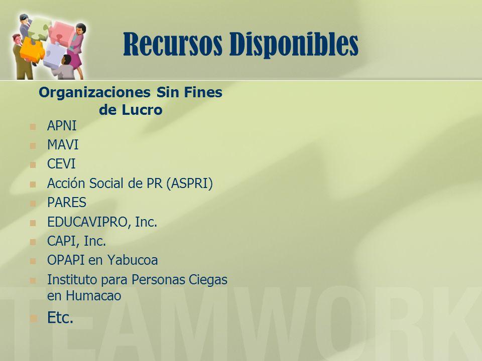 Recursos Disponibles Organizaciones Sin Fines de Lucro APNI MAVI CEVI Acción Social de PR (ASPRI) PARES EDUCAVIPRO, Inc. CAPI, Inc. OPAPI en Yabucoa I