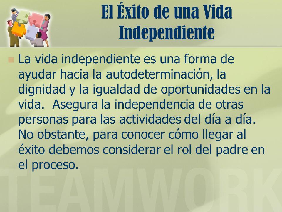 El Éxito de una Vida Independiente La vida independiente es una forma de ayudar hacia la autodeterminacin, la dignidad y la igualdad de oportunidades