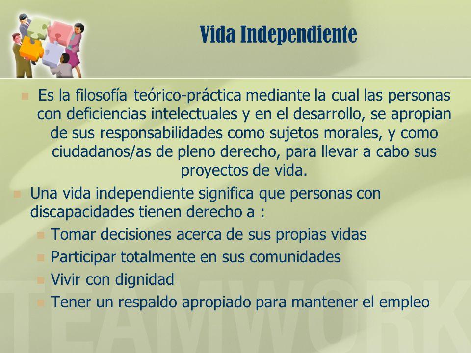 Vida Independiente Es la filosofía teórico-práctica mediante la cual las personas con deficiencias intelectuales y en el desarrollo, se apropian de su