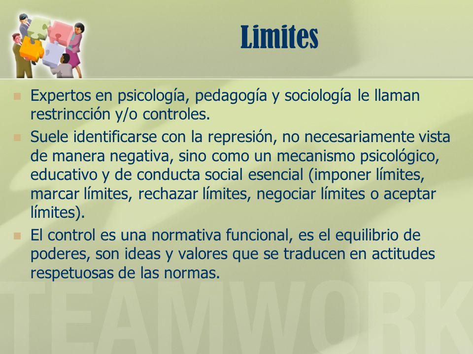 Limites Expertos en psicología, pedagogía y sociología le llaman restrincción y/o controles. Suele identificarse con la represión, no necesariamente v