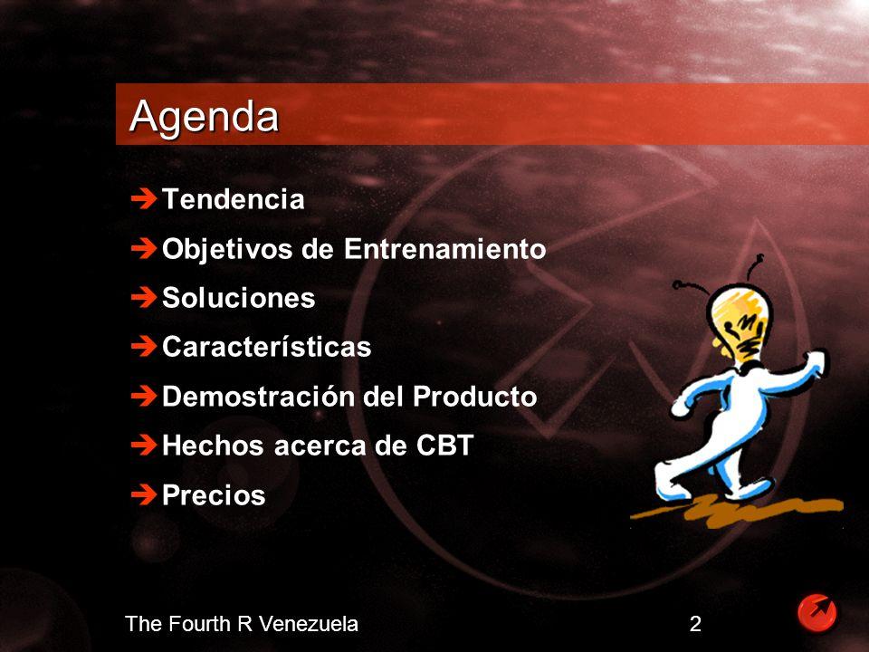 The Fourth R Venezuela 3 Tendencia La inversión en tecnología requiere de altas destrezas en computación Organizaciones estan experimentando analfabetismo en software y escases de destrezas tecnológicas Crecimiento en el área de entrenamiento y certificación Organizaciones con destrezas tecnológicas obtienen ventajas competitivas
