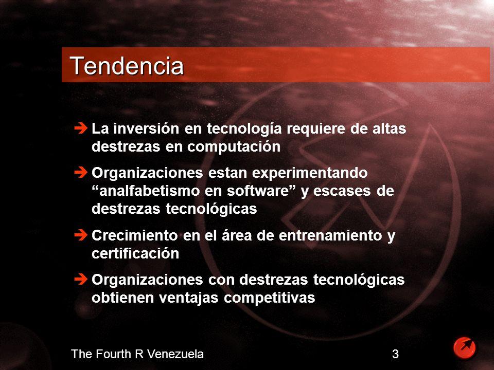 The Fourth R Venezuela 4 Objetivos de Entrenamiento Incrementar la productividad Reducir la carga que representa el soporte tecnológico Horarios y lugar apropiado para el entrenamiento Minimizar el desperdicio de tiempo Personalizar entrenamiento - necesidades específicas Optimizar la retención de destrezas