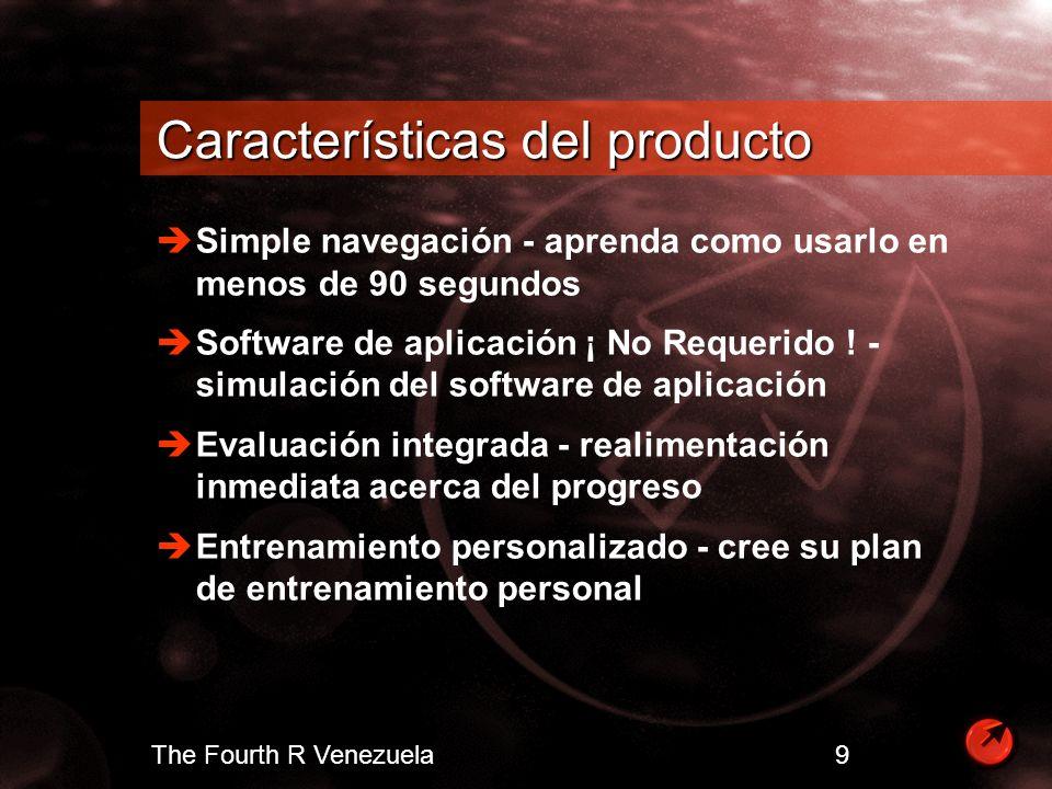The Fourth R Venezuela 10 Hechos acerca de CBT Los métodos CBT incrementan el aprendizaje y comprensión Horario flexible - aprenda lo que quiera cuando quiera en su lugar de trabajo Expertos coinciden en que usuarios retienen 25% de lo que ven, 40% de lo que ven y oyen y 75% de lo que ven, oyen y hacen
