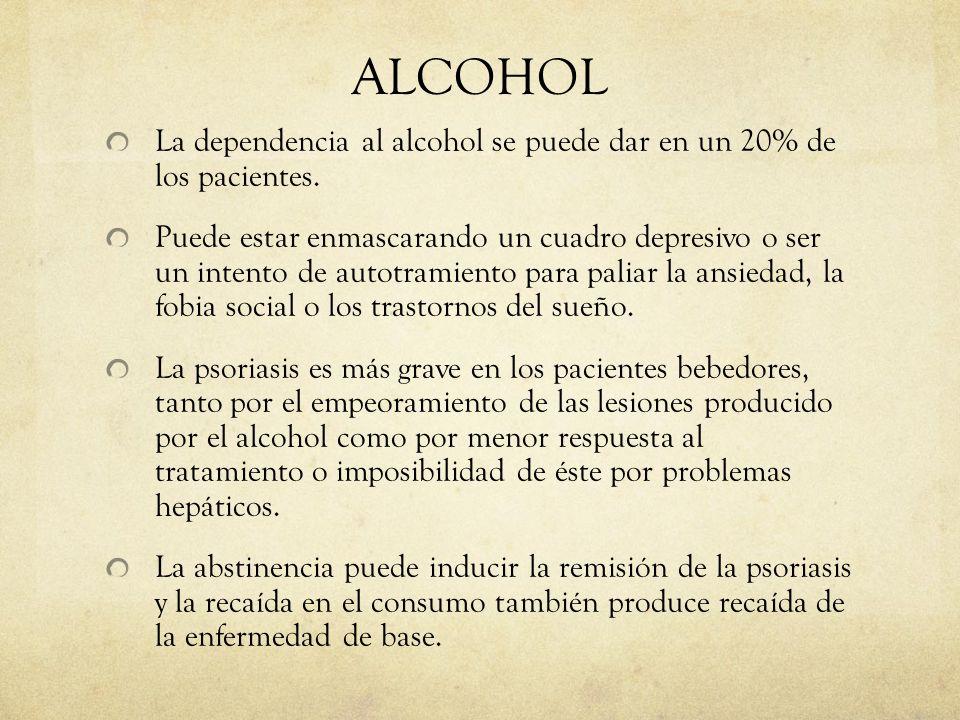 ALCOHOL La dependencia al alcohol se puede dar en un 20% de los pacientes. Puede estar enmascarando un cuadro depresivo o ser un intento de autotramie