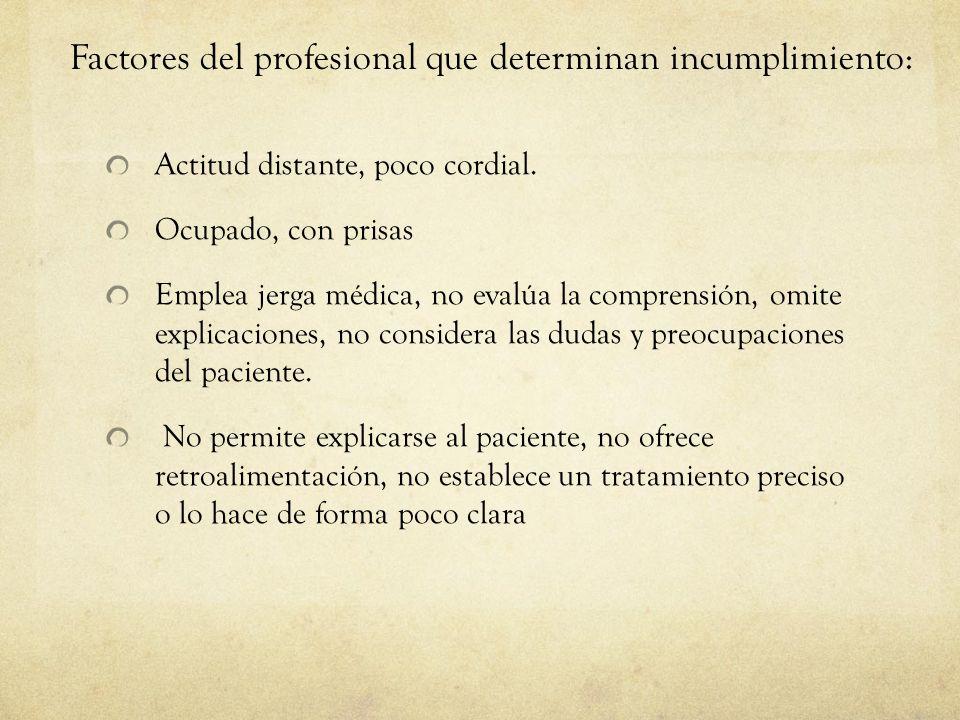 Factores del profesional que determinan incumplimiento: Actitud distante, poco cordial. Ocupado, con prisas Emplea jerga médica, no evalúa la comprens