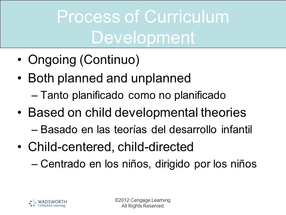 Process of Curriculum Development Ongoing (Continuo) Both planned and unplanned –Tanto planificado como no planificado Based on child developmental th