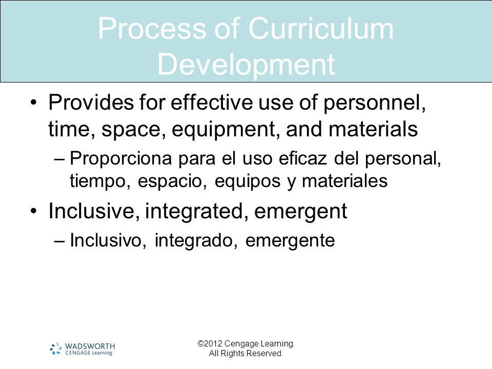 Process of Curriculum Development Provides for effective use of personnel, time, space, equipment, and materials –Proporciona para el uso eficaz del p