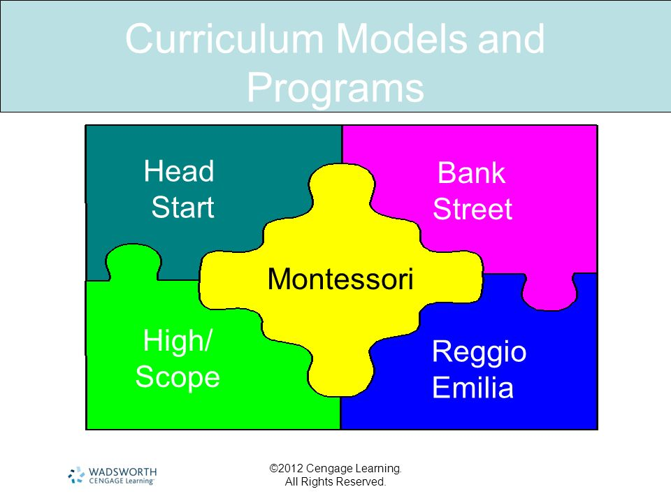Curriculum Models and Programs ©2012 Cengage Learning. All Rights Reserved. Head Start Bank Street Montessori High/ Scope Reggio Emilia