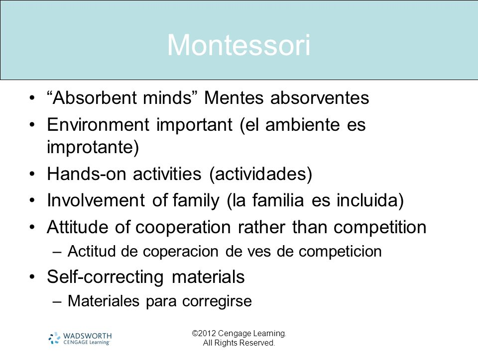 Montessori Absorbent minds Mentes absorventes Environment important (el ambiente es improtante) Hands-on activities (actividades) Involvement of famil