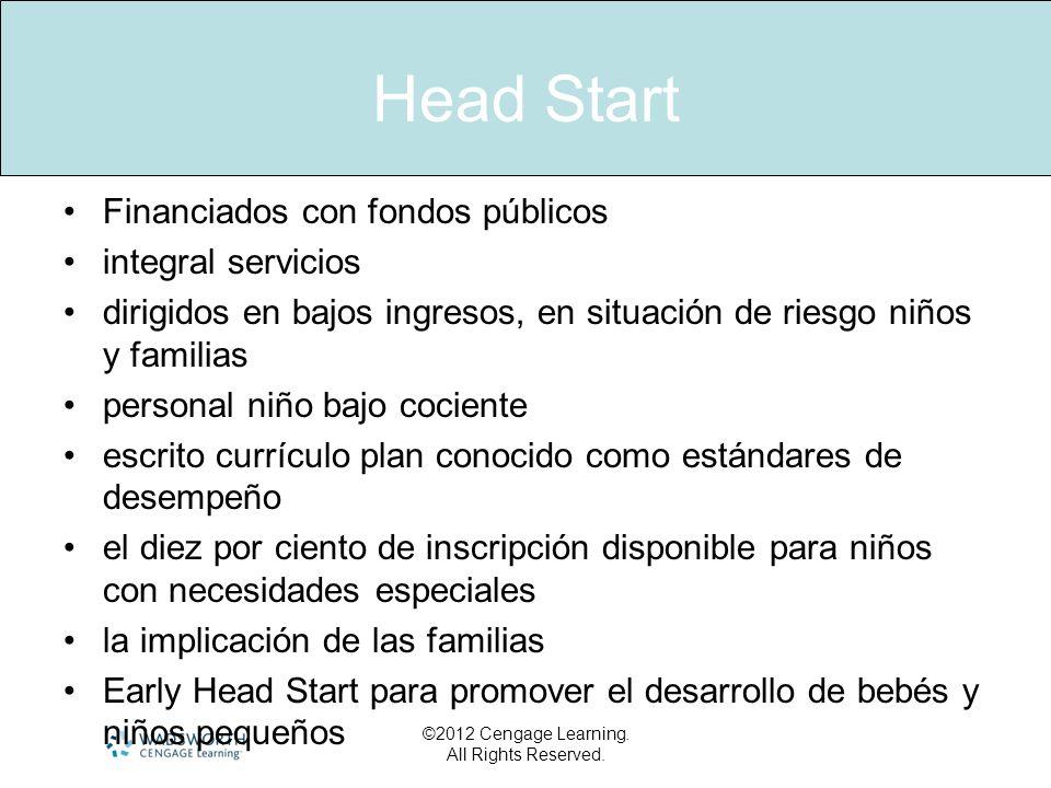 Head Start Financiados con fondos públicos integral servicios dirigidos en bajos ingresos, en situación de riesgo niños y familias personal niño bajo