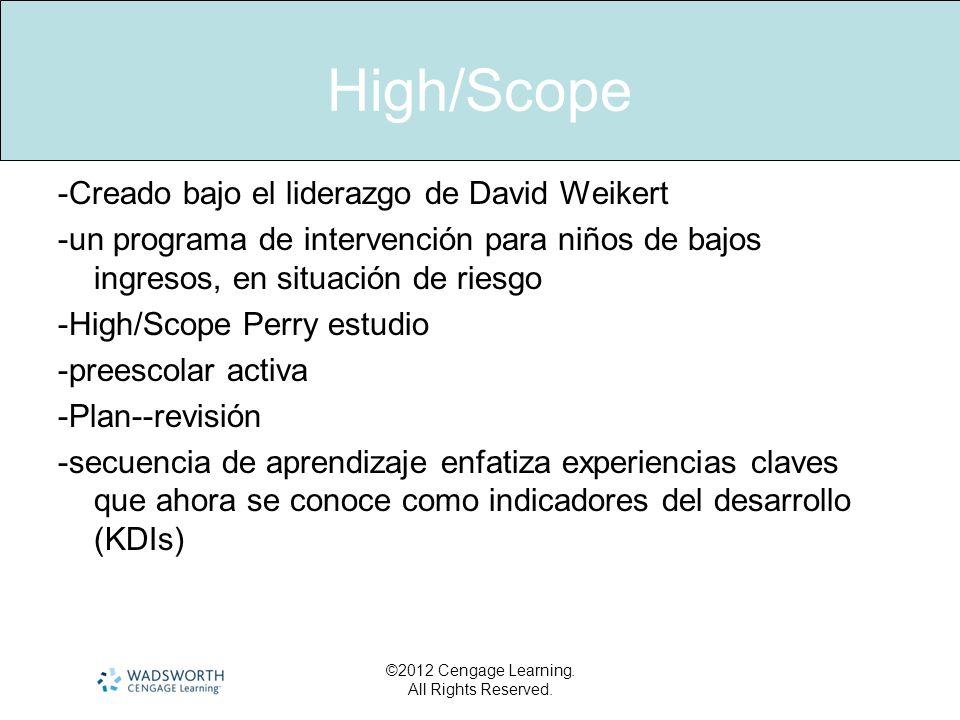 High/Scope -Creado bajo el liderazgo de David Weikert -un programa de intervención para niños de bajos ingresos, en situación de riesgo -High/Scope Pe