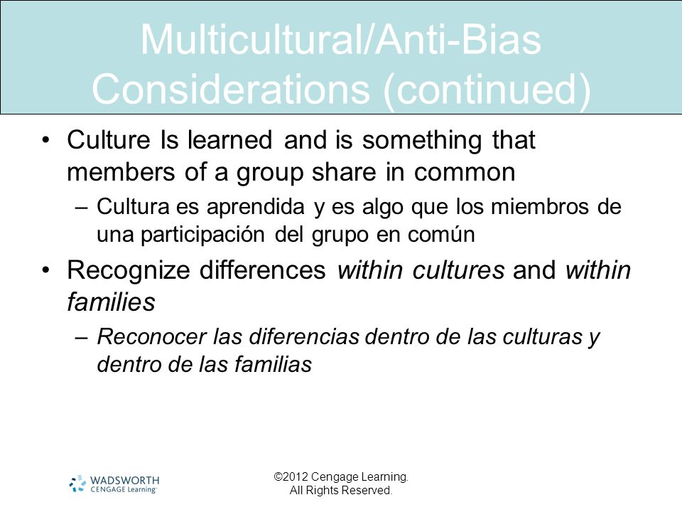 Multicultural/Anti-Bias Considerations (continued) Culture Is learned and is something that members of a group share in common –Cultura es aprendida y